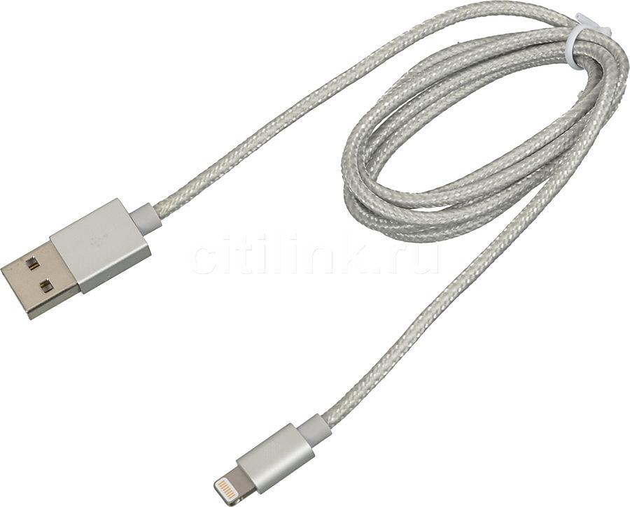 Кабель CACTUS CS-ACSC08,  Apple iPhone 5/5c/5S/6+ Apple iPad 4/mini/Air Apple iPod touch (5), nano (7) 1м, серебристый,  USB -  Lightning