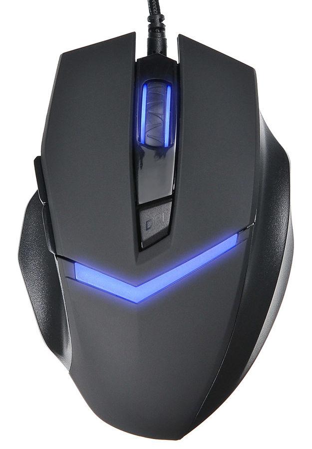 Мышь OKLICK 825G PHANTOM, игровая, оптическая, проводная, USB, черный и синий [mw-1405]