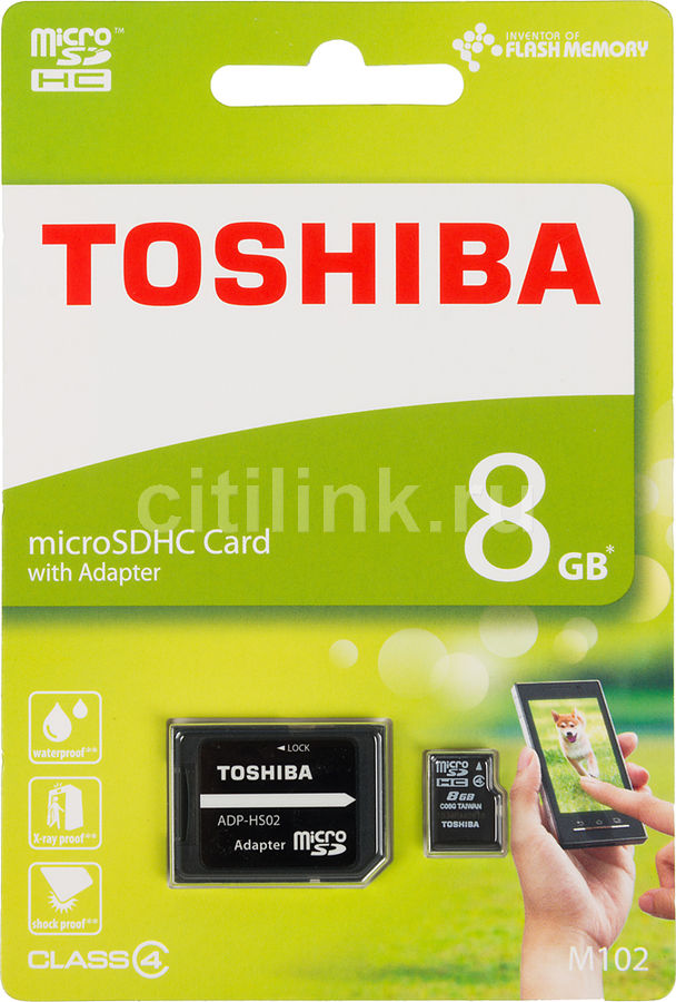 Карта памяти microSDHC TOSHIBA M102 8 ГБ, 15 МБ/с, Class 4, SDU8GSDHC4M102M2TR,  1 шт., переходник SD