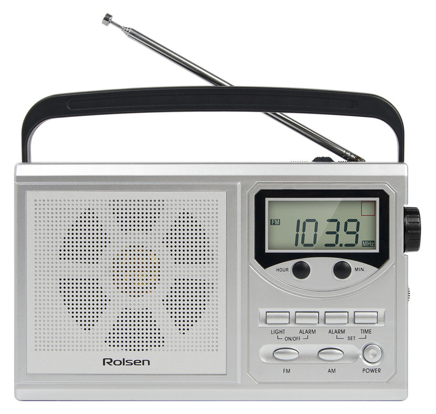 Радиобудильник ROLSEN RBM-216, серебристый