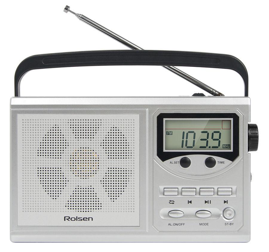 Радиобудильник ROLSEN RBM-217, серебристый