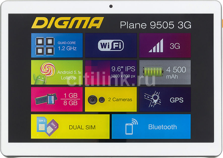Планшет DIGMA Plane 9505 3G, 1GB, 8GB, 3G, Android 5.1 белый [ps9034mg] планшет digma plane 1505 3g black ps1083mg mediatek mt8321 1 3 ghz 1024mb 8gb gps 3g wi fi bluetooth cam 10 1 1280x800 android 394172