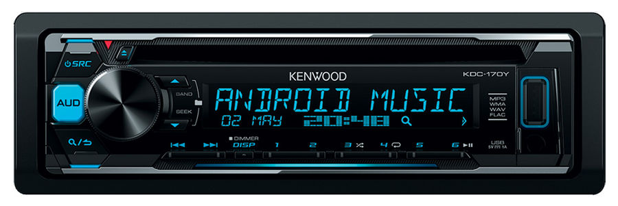 Автомагнитола KENWOOD KDC-170Y, USB автомагнитола kenwood kdc 210ui usb mp3 cd fm 1din 4х50вт черный