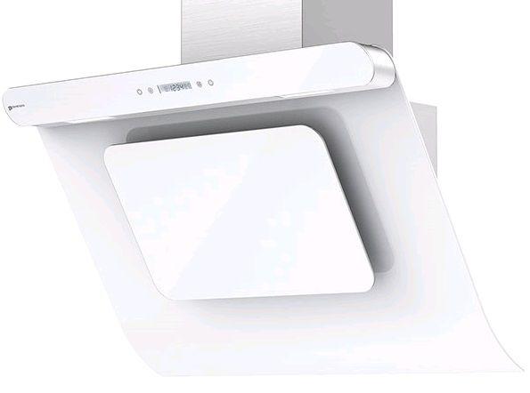 Каминная вытяжка SHINDO Arktur 90 W/WG 3ETC,  1 мотор,  сенсорное,  нержавеющая сталь/белое стекло