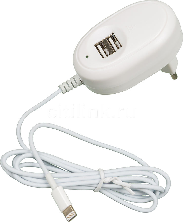 Сетевое зарядное устройство GINZZU GA-3513UW,  2xUSB,  8-pin Lightning (Apple),  2.5A,  белый