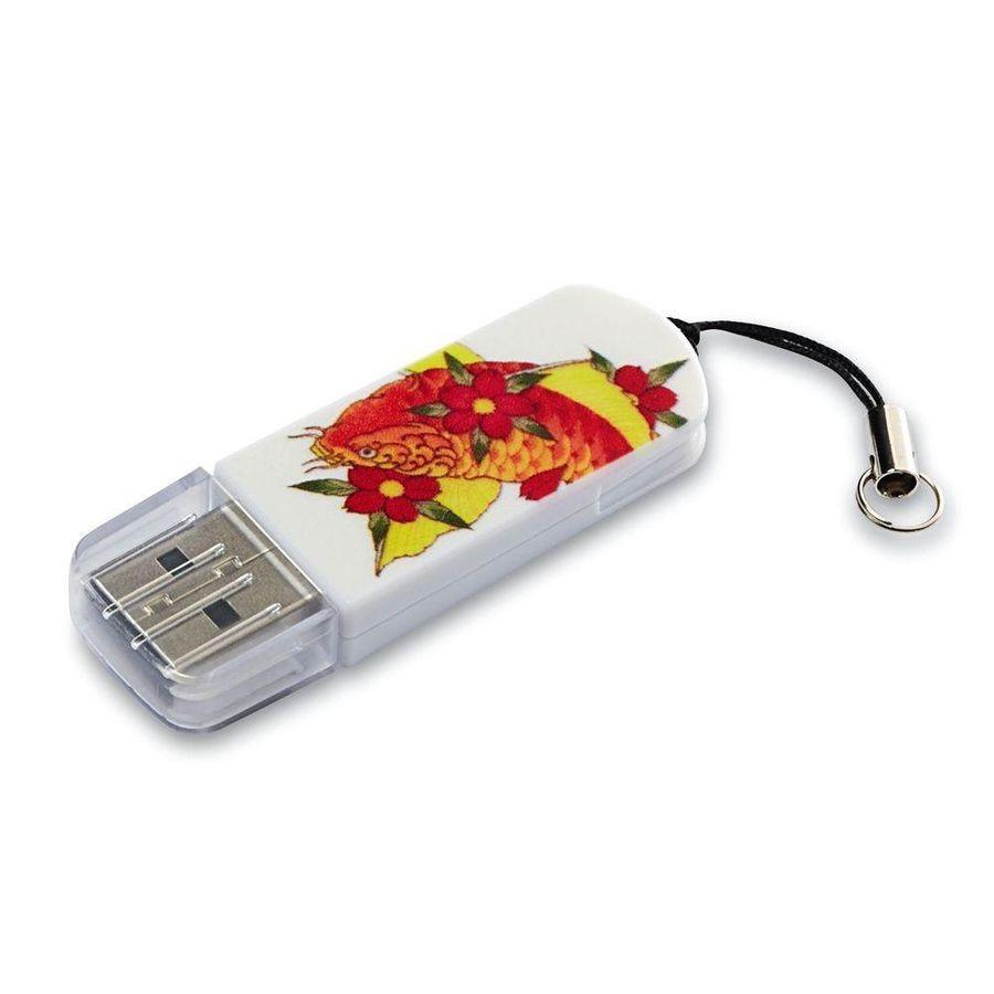 Флешка USB VERBATIM Mini Tattoo Koi 32Гб, USB2.0, белый и рисунок [49897]