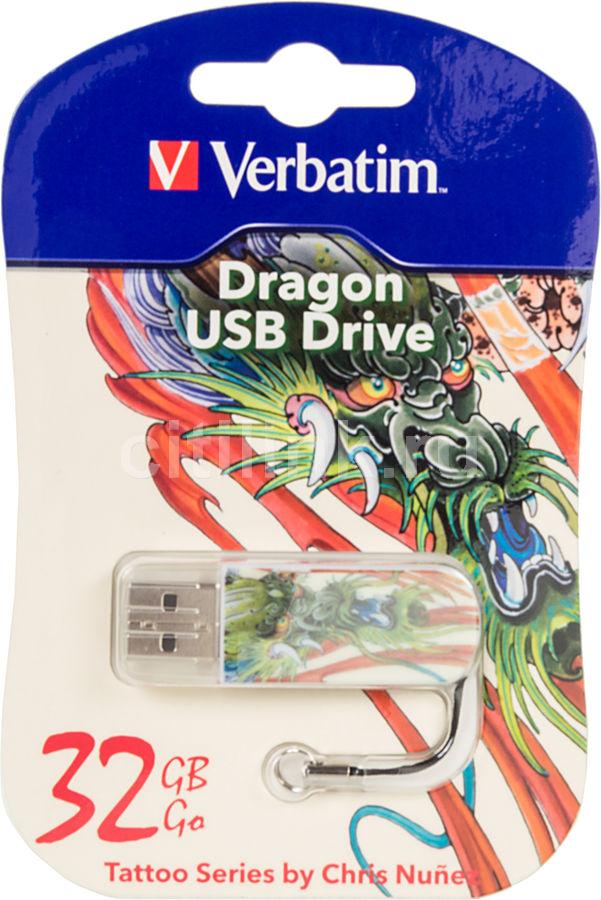 Флешка USB VERBATIM Mini Tattoo Dragon 32Гб, USB2.0, белый и рисунок [49899]