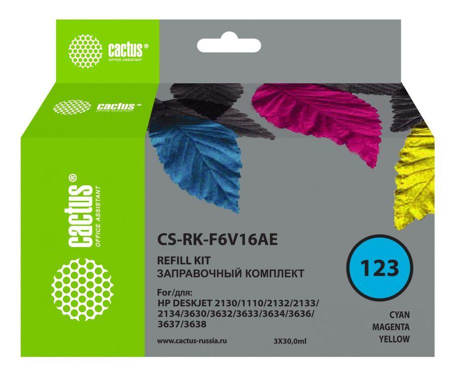 Заправочный комплект CACTUS CS-RK-F6V16AE, для HP, 90мл, многоцветный