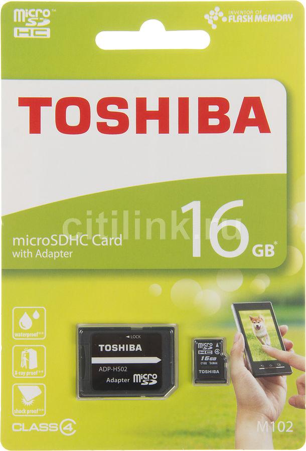 Карта памяти microSDHC TOSHIBA M102 16 ГБ, Class 4, THN-M102K0160M2,  1 шт., переходник SD