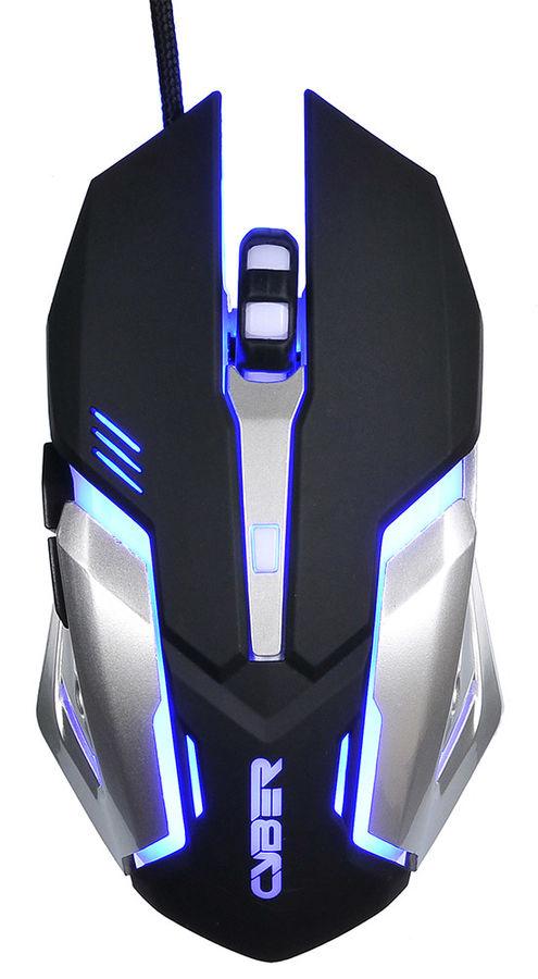 Мышь OKLICK 855G CYBER, игровая, оптическая, проводная, USB, черный и серебристый [gm-08m]