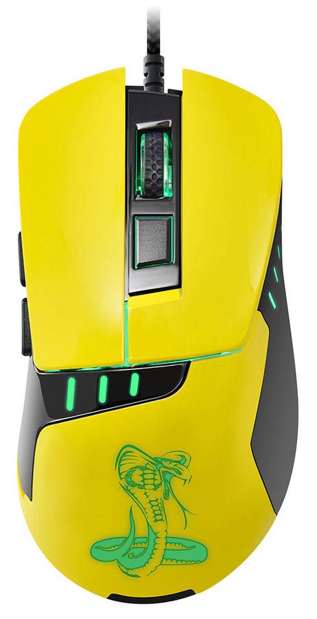 Мышь OKLICK 865G Snake оптическая проводная USB, черный и желтый [gm-26 yellow]