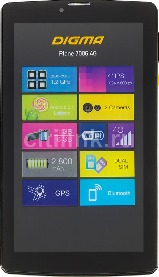 Планшет DIGMA Plane 7006 4G,  1GB, 8GB, 3G,  4G,  Android 7.0 черный [ps7041ml / ps7041pl]