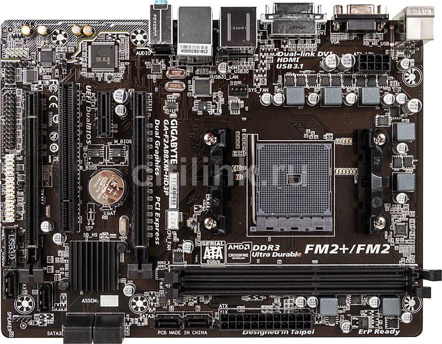 Материнская плата GIGABYTE GA-F2A88XM-HD3P, Socket FM2+, AMD A88X, mATX, Ret