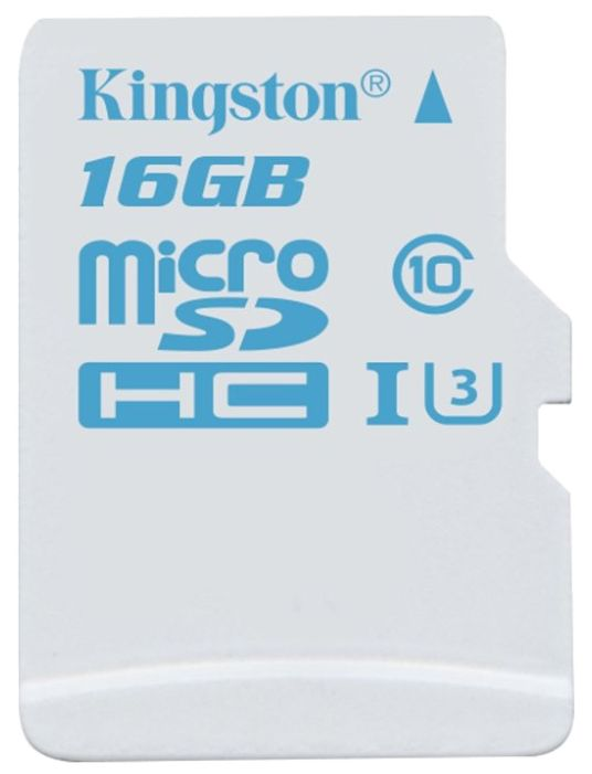 Карта памяти microSDHC UHS-I KINGSTON 16 ГБ, 90 МБ/с, Class 10, SDCAC/16GB,  1 шт., переходник SD