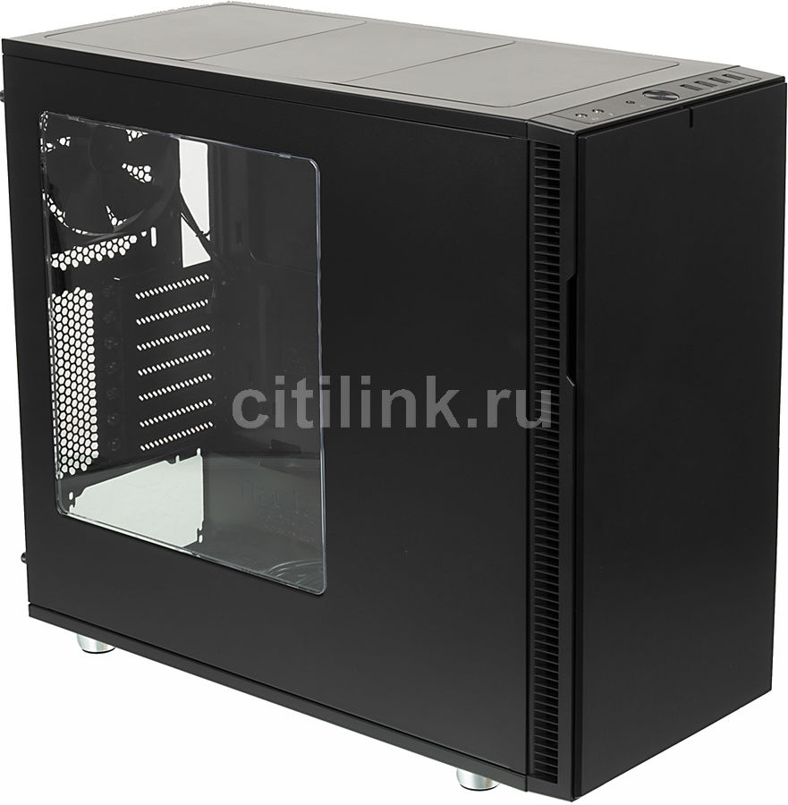 Корпус ATX FRACTAL DESIGN Define R5 Blackout Edition Window, Midi-Tower, без БП, черный корпус matx fractal design define mini c tg mini tower без бп черный