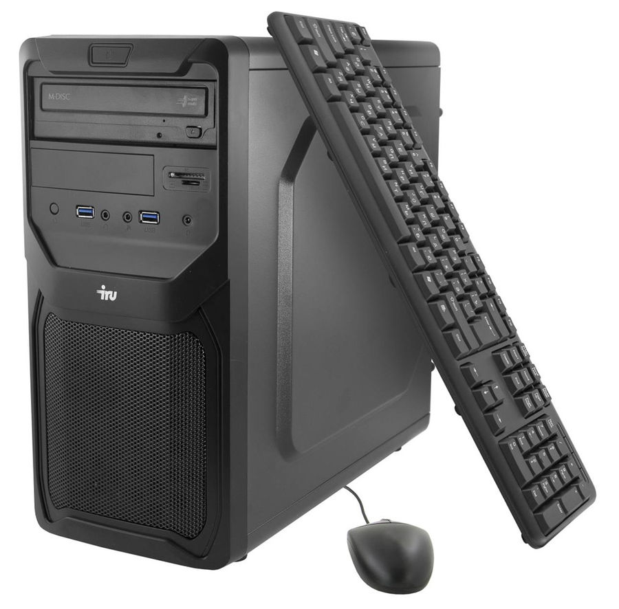 Компьютер  IRU Office 321,  AMD  A4  6300,  DDR3 4Гб, 500Гб,  AMD Radeon HD 8370D,  DVD-RW,  CR,  Windows 7 Professional,  черный [371905]