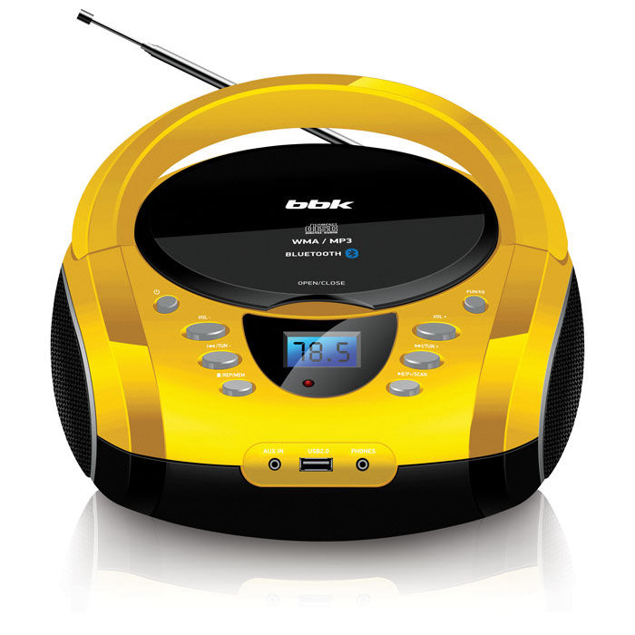 Аудиомагнитола BBK BX165BT,  желтый и черный