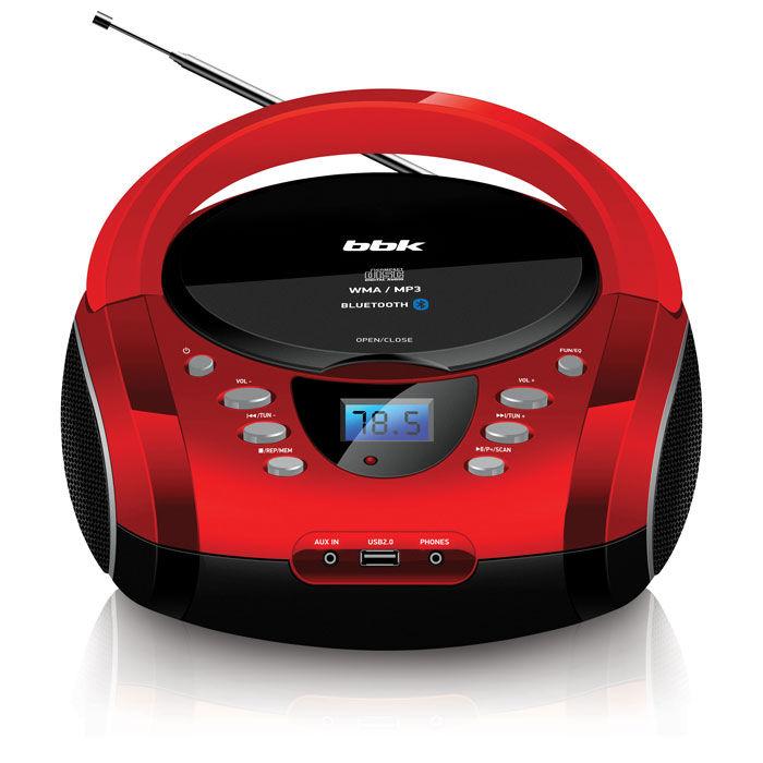 Аудиомагнитола BBK BX165BT,  красный и черный