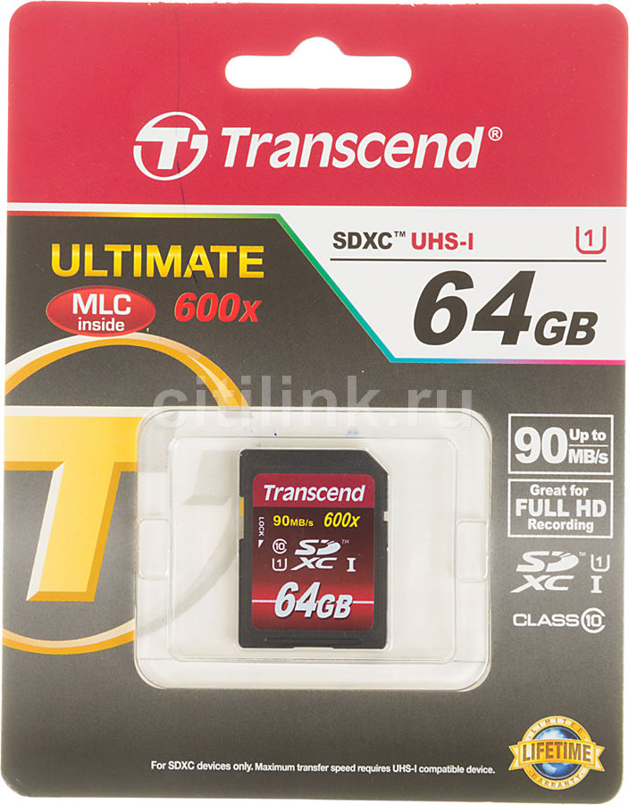 Карта памяти SDXC UHS-I TRANSCEND 64 ГБ, 80 МБ/с, Class 10, TS64GSDXC10U1 BULK,  1 шт.
