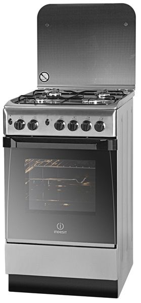 Газовая плита INDESIT MVK GS11(X) RF,  газовая духовка,  серебристый