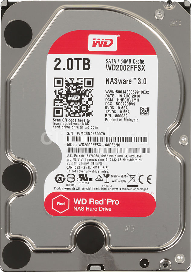 Жесткий диск WD Red Pro WD2002FFSX, 2Тб, HDD, SATA III, 3.5