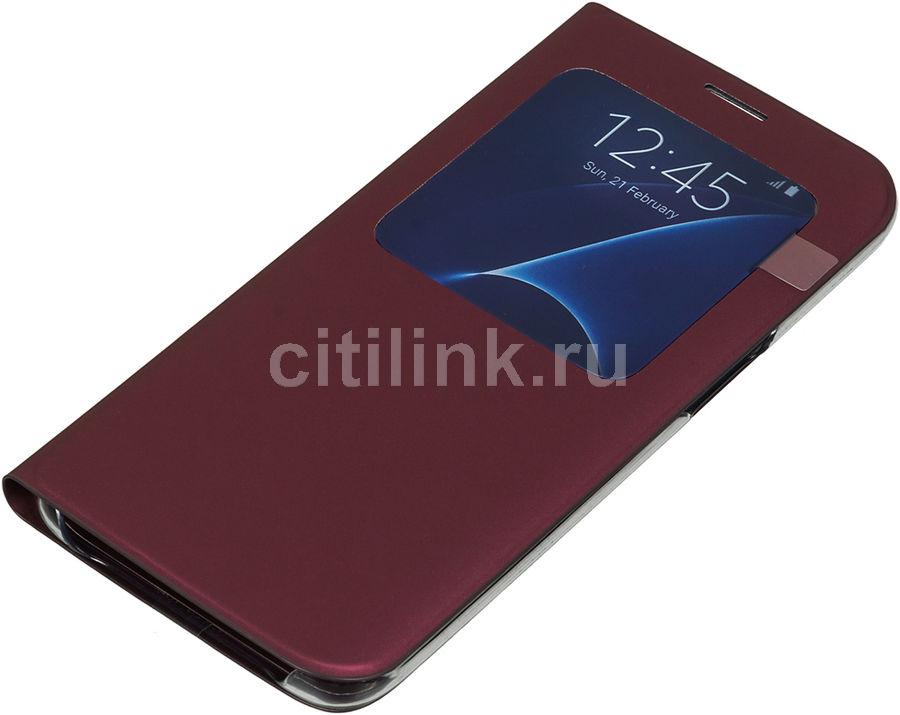 Чехол (флип-кейс) SAMSUNG S View Cover, для Samsung Galaxy S7 edge, бордовый [ef-cg935pxegru]