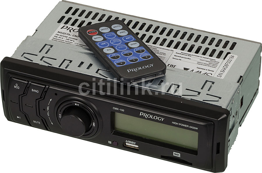 Автомагнитола PROLOGY CMX-100, USB, SD/MMC автомагнитола prology cmu 520