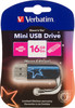 Флешка USB VERBATIM Mini Neon Edition 16Гб, USB2.0, синий и рисунок [49395] вид 1