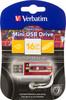 Флешка USB VERBATIM Mini Cassette Edition 16Гб, USB2.0, красный и рисунок