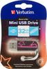 Флешка USB VERBATIM Mini Neon Edition 32Гб, USB2.0, розовый и рисунок [49390] вид 1