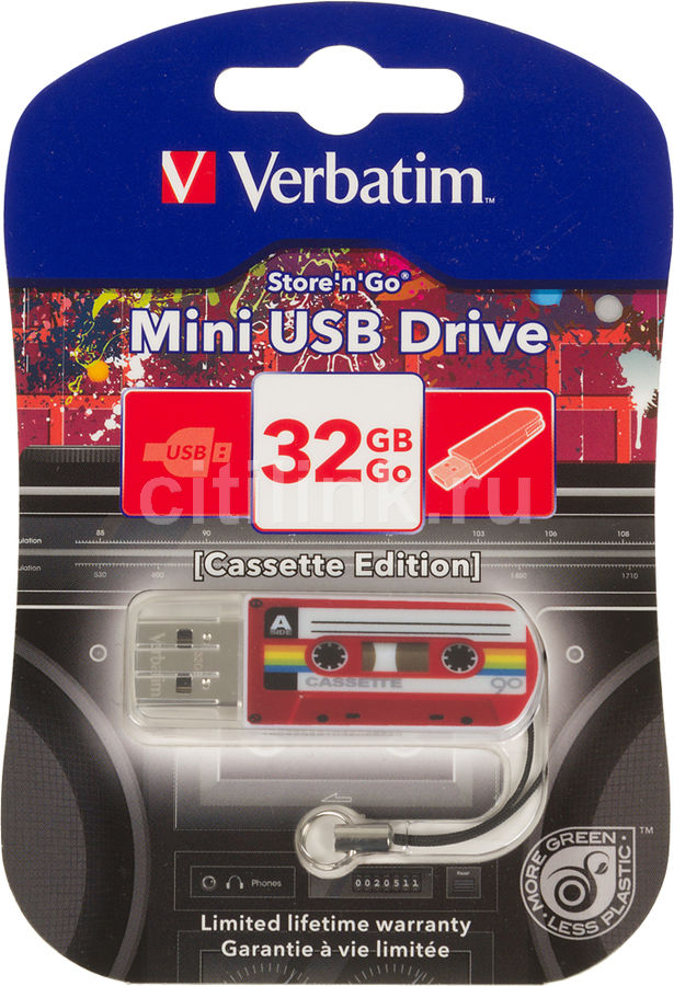 Флешка USB VERBATIM Mini Cassette Edition 32Гб, USB2.0, красный и рисунок [49392]