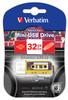 Флешка USB VERBATIM Mini Cassette Edition 32Гб, USB2.0, желтый и рисунок [49393] вид 2