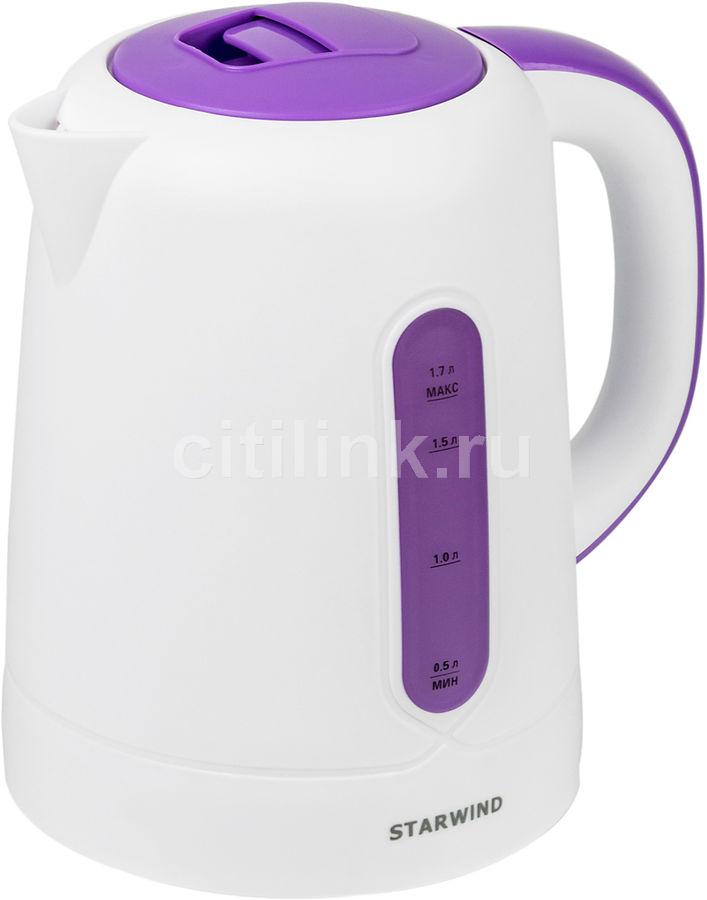 Чайник электрический STARWIND SKP3557, 2200Вт, белый и фиолетовый
