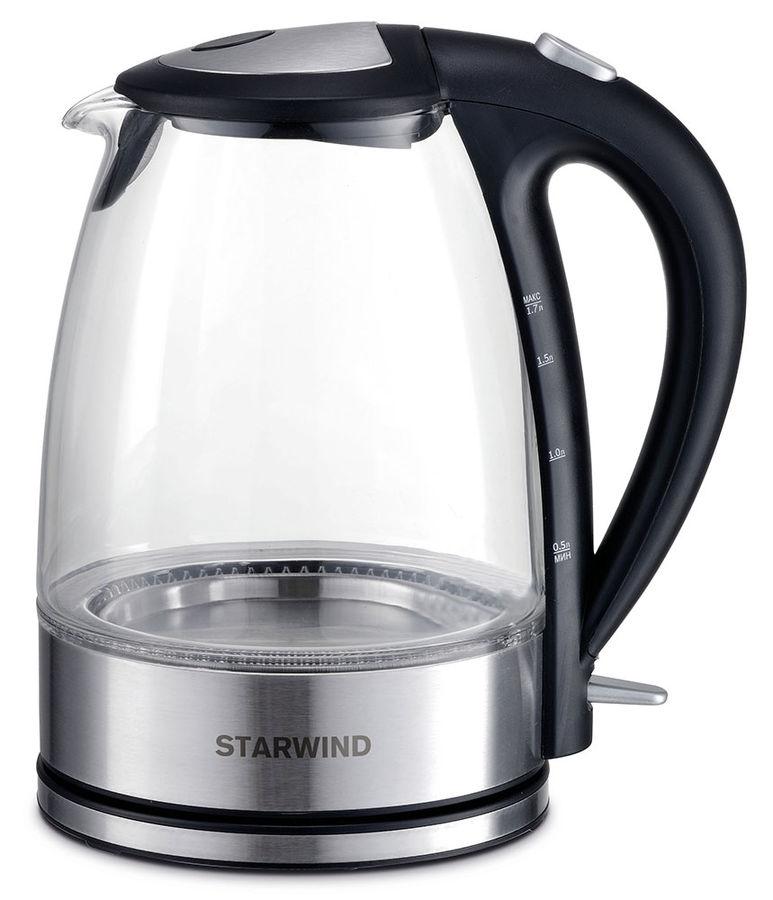 Чайник электрический STARWIND SKG7650, 2200Вт, серебристый и черный
