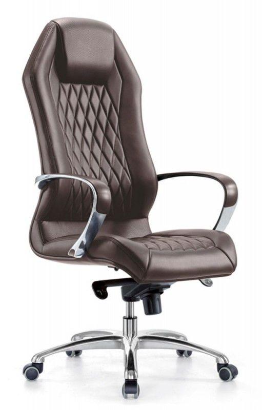 Кресло руководителя БЮРОКРАТ _Aura, на колесиках, кожа, коричневый [_aura/brown]