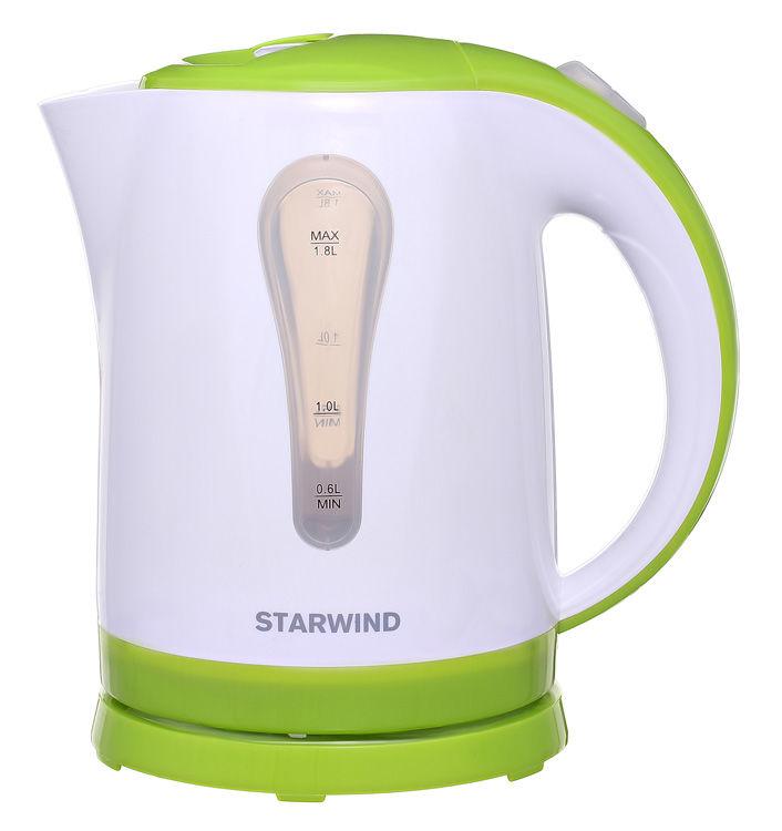 Чайник электрический STARWIND SKP2215, 2200Вт, белый и зеленый