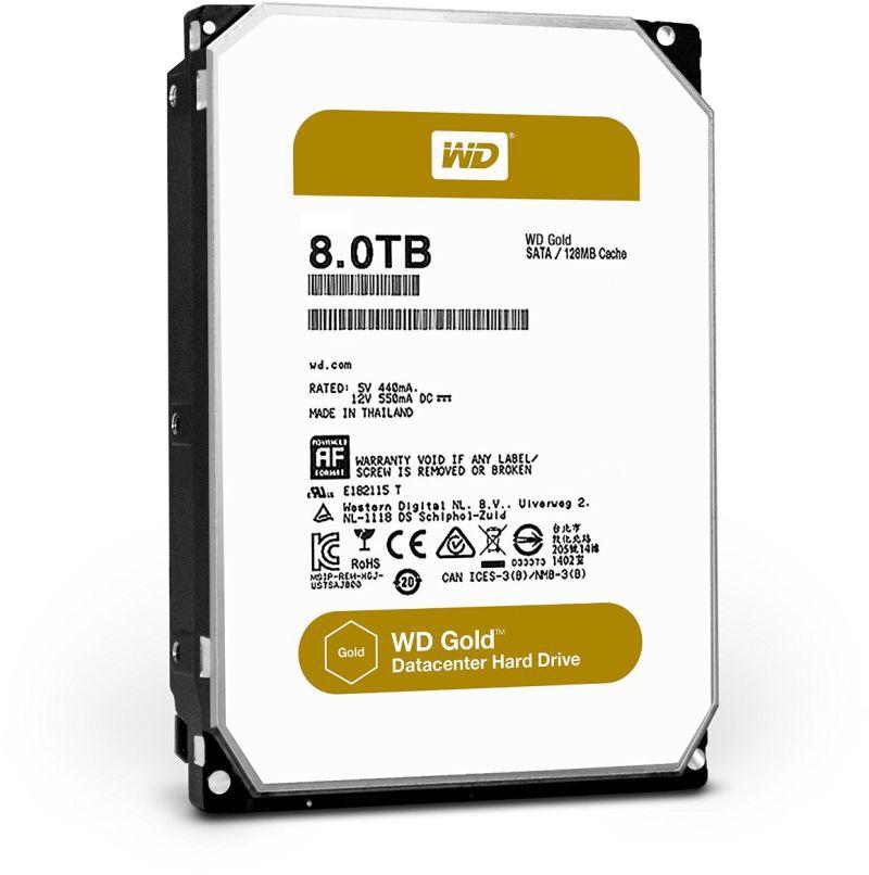 Жесткий диск WD Gold WD8002FRYZ,  8Тб,  HDD,  SATA III,  3.5