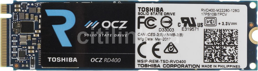 SSD накопитель OCZ Toshiba RVD400-M22280-128G 128Гб, M.2 2280, PCI-E x4,  NVMe