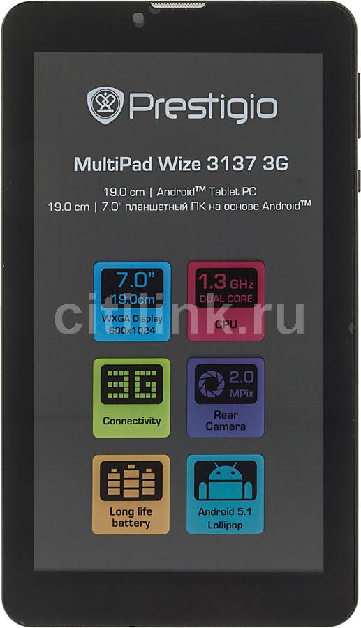 Планшет PRESTIGIO MultiPad PMT3137_3G,  512Мб, 8GB, 3G,  Android 5.1 черный [pmt31373gccis]