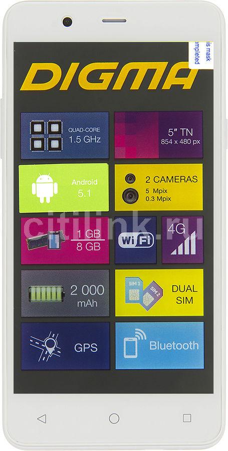 Смартфон Digma LINX A501 4G 8Gb белый моноблок 3G 4G 2Sim 5