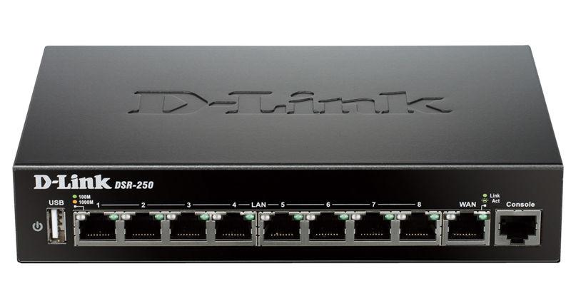 Сетевой экран D-LINK DSR-250/A2A,  черный
