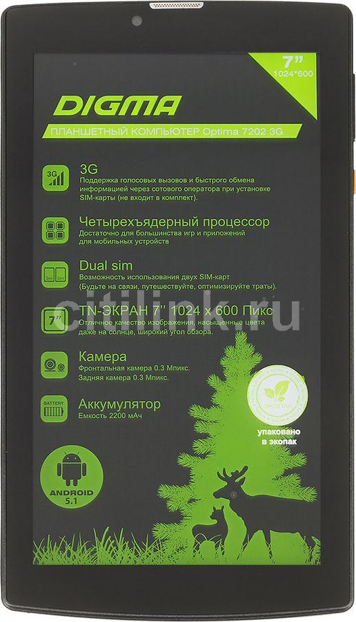 Планшет DIGMA Optima 7202 3G,  1GB, 8GB, 3G,  Android 5.1 черный [ts7055mg]