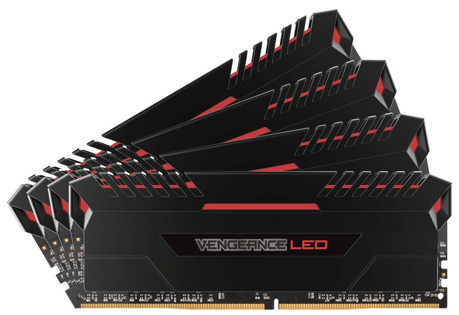 Модуль памяти CORSAIR Vengeance LED CMU64GX4M4C3000C15R DDR4 -  4x 16Гб 3000, DIMM,  Ret