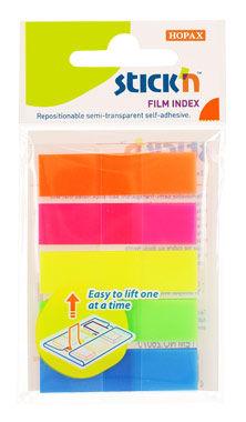 Закладки самокл. индексы пластиковые Stick`n 26070 45x12мм 5цв.в упак. 20лист Z-сложение европодвес