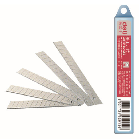Лезвия для канцелярского ножа Deli E2012 шир.лез.9мм сталь (упак.:10шт) пласт.кор.