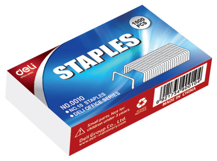 Скобы для степлера DELI E0010N,  N10,  картонная коробка