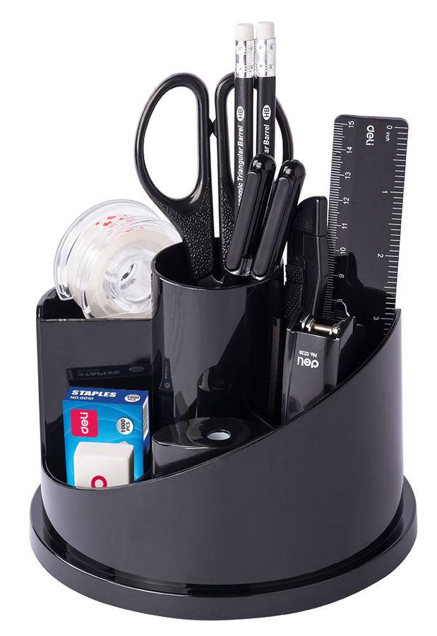 Настольный набор DELI E38251A, Вращающийся настольный набор, пластик, 17 предметов, черный
