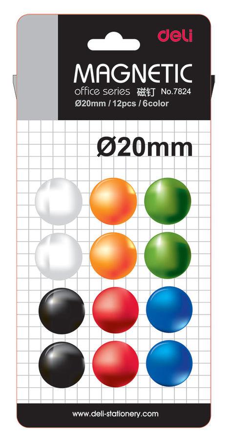 Магнит для досок Deli E7824 ассорти d=20мм круглый (упак.:12шт)