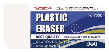 Ластик Deli E7536 42x17x10мм каучук белый индивидуальная картонная упаковка