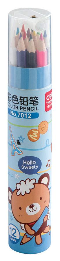 Карандаши цветные Deli E7012 шестигран. 12цв. точилка карт.тубус